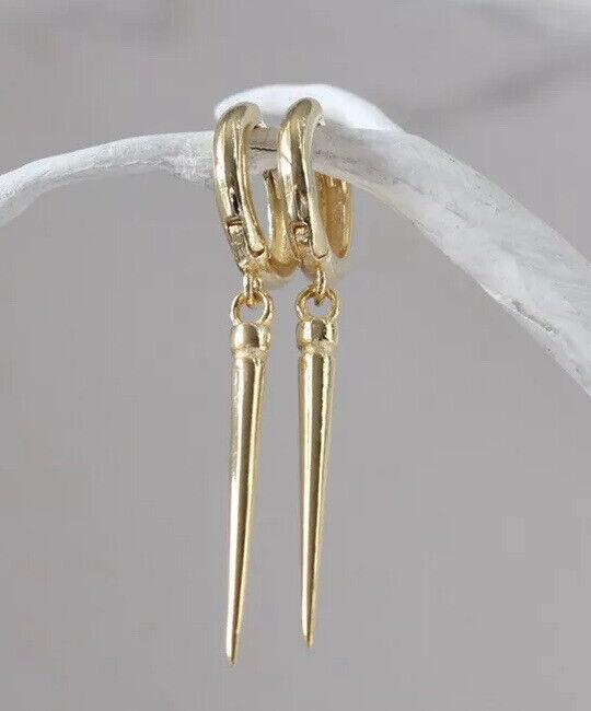 Gold Plated Silver Single Spike Earrings, Punk Hoop Earrings Small Hoop Earrings