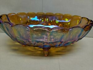 Vintage-Indiana-Gloss-footed-Amber-Fruit-Bowl-Harvest-Grape-Iridescent-Carnival