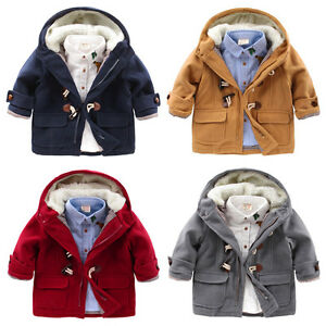 Baby Boys Warm Fleece Hooded Coat Toddler Horn Button Snowsuit Outerwear Jacket