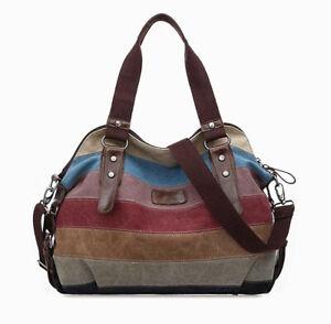 Women's Canvas Handbag Hobo Bag Rainbow Striped Cross Body Purse Tote Satchel US