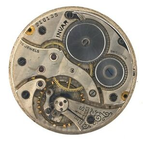 INVAR-1930-40S-SWISS-LEVER-POCKET-WATCH-MOVEMENT-SPARES-OR-REPAIRS-Z386