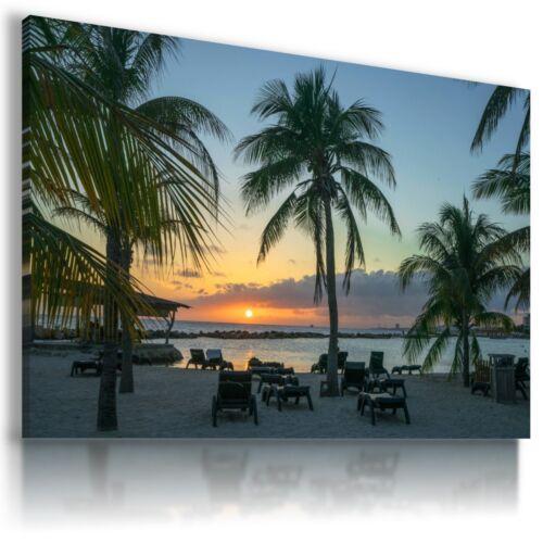SUMMER CARIBBEAN CURACAO PALMS BEACH CANVAS WALL ART PICTURE L700 MATAGA .
