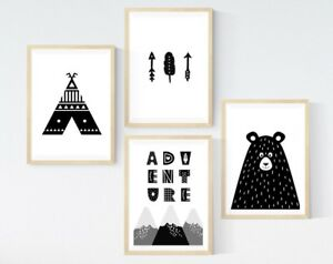 3 Inspiring Quote Prints Scandi Mountain Arrows Modern Nursery Room Pictures Art