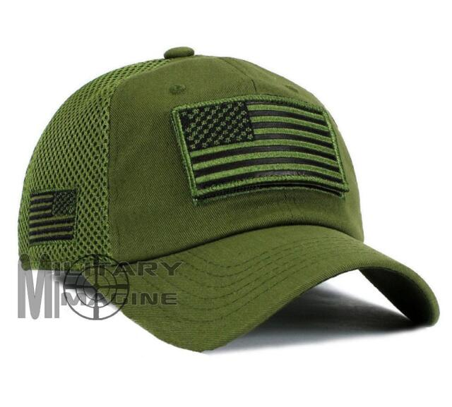 175c4296674 USA American Flag Hat OD Green Detachable Patch Micro Mesh Tactical ...