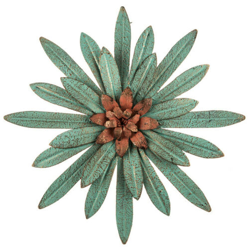 Rustic Home Accent Turquoise Flower Metal Wall Decor Hanging Bloom Sculpture New