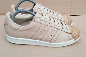 STUNNING-ADIDAS-SUPERSTAR-80-039-s-CORK-TOE-TRAINERS-SIZE-6-UK-NUDE-BEIGE-RARE