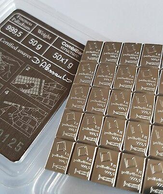 5g Gram Strip (5 X 1g) 999.5 Palladium Valcambi Swiss Bullion Bar (not Gold) En Digestion Helping