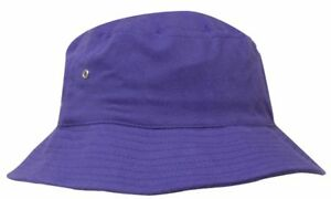 CUSTOM-Personalised-Embroidery-PURPLE-Brushed-Beach-Bucket-Hat-L-XL-61cm