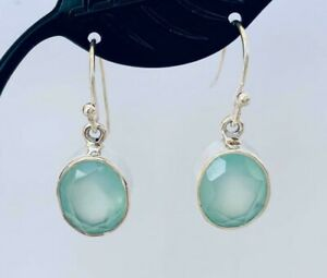 925-Sterling-Silver-Aqua-Chalcedony-Gemstone-Earrings-Oval-Round-Faceted-Bezel