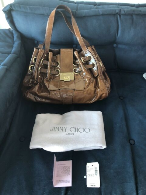 21f4ccaaf2fc Jimmy Choo Patent Leather Riki ramona Handbag in Cigar Color for sale  online