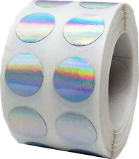 Hologram Circle Dot Stickers, 1/2 Inch Round,1000 Labels, 10 Color Choices
