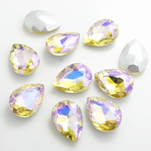 Cristal Pedrería Plata Lágrima Cuentas 10X14mm Hot Color AB15 un