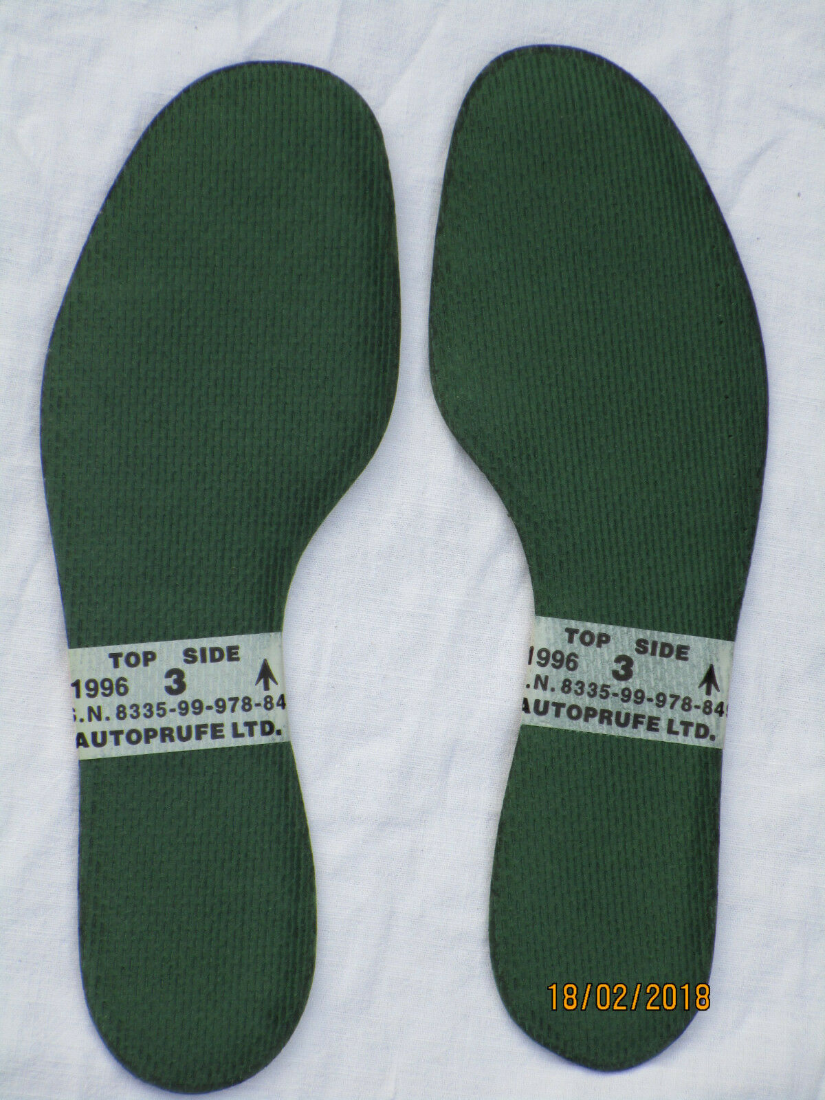 Insoles for GB Boots, Green, size 3= Length 235mm, for GB for Combat Boots, 1996 e64b75
