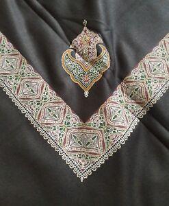 Yemenite-Arabian-Kashmiri-Shawl-Shemagh-etole-foulard-islamique-Noir-Soufi-pakistanais