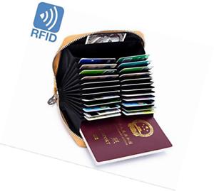 Boshiho RFID Blocking 24 Slot Credit Card Holder Wallet Real Leather Multi Organ