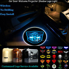 2x 3D Shining Transformers Autobots Wireless Car Door Projector Logo LED Light
