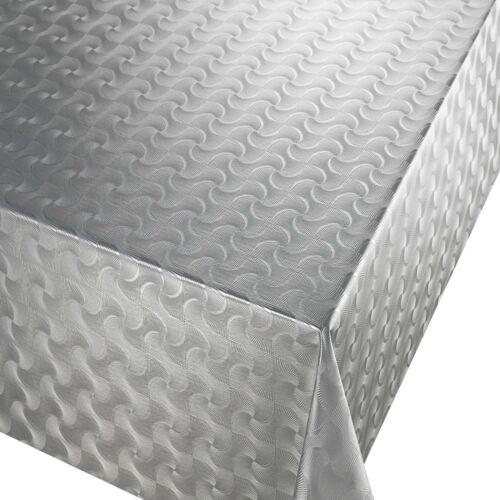 PVC Table Nappe Pulse argent GEO vagues gaufrée gris effet métallique Essuyer Capable
