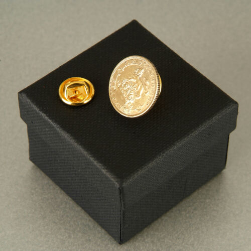 24ct Gold Plated Lucky Sixpence Tie Pin 1921-1946 in gift box