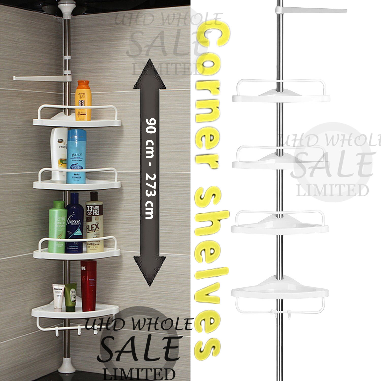 Non rouille salle de bain télescopique coin étagère de rangement 4 étages douche caddy organisateur