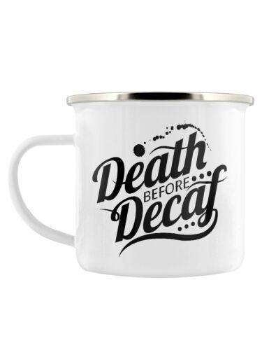 Mug Death Before Decaf Enamel White