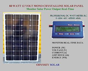 Solar Panel 60 Watt 12v Mono Crystalline Amp Dc Power Meter