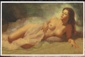 Earl Moran Authentic Pin-Up Poster Art Print 11x17 Reclining Nude Woman