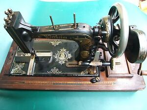 Antique-German-Wertheim-Frankfort-Hand-Crank-Sewing-Machine-1900-039-s