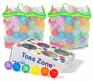 2x 100 Invisiball Non-Toxic Thick Crush Proof Pit Balls w/ Mesh Bag & Toss Zone