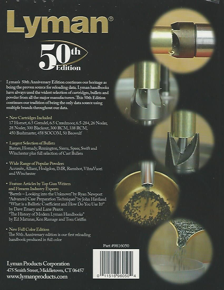 Lyman 50th Edition Reloading Handbook -- in Hardcover or Softcover