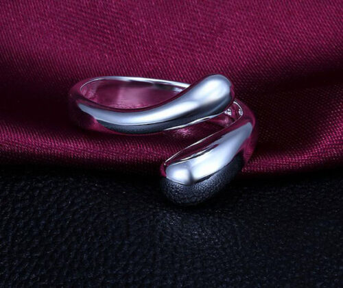 925 Sterling Silver Plated Solid Teardrop Drop Necklace Chain Ring Earrings