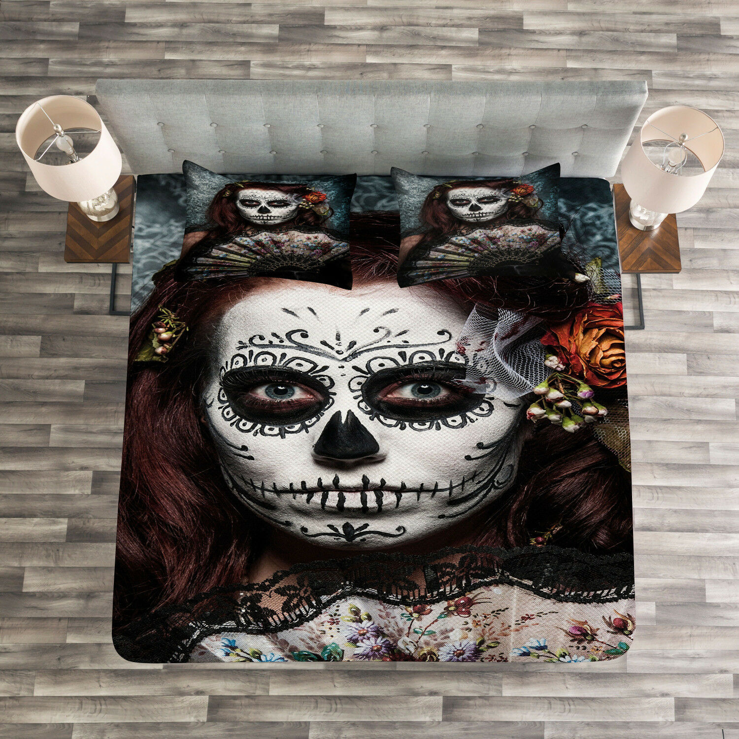Festive Quilted Bedspread & Pillow Shams Set, Skull Scary Mask Print
