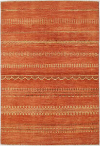 4X6-Hand-Knotted-Gabbeh-Carpet-Modern-Red-Fine-Wool-Area-Rug-D42655