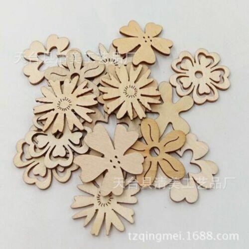 Bois évidé Fleur Forme balises inachevée bois Pieces for Craft Scrapbooking
