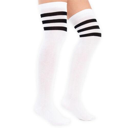Girls Over Knee Striped Referee Sport Fancy Dress Socks Size UK 12.5-3.5 LG0021
