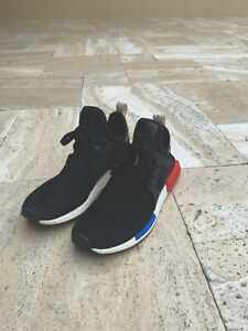 Adidas Nmd Xr1 Primeknit Og Black White Red Blue Men S Size 11 Ebay