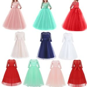 Kids-Flower-Girls-Party-Dress-Wedding-Bridesmaid-Princess-Formal-Long-Dresses