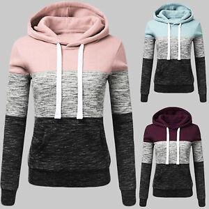 Women-Patchwork-Hooded-Long-Sleeve-Sweatshirt-Hoodie-Pullover-Jumper-Sweater-Top