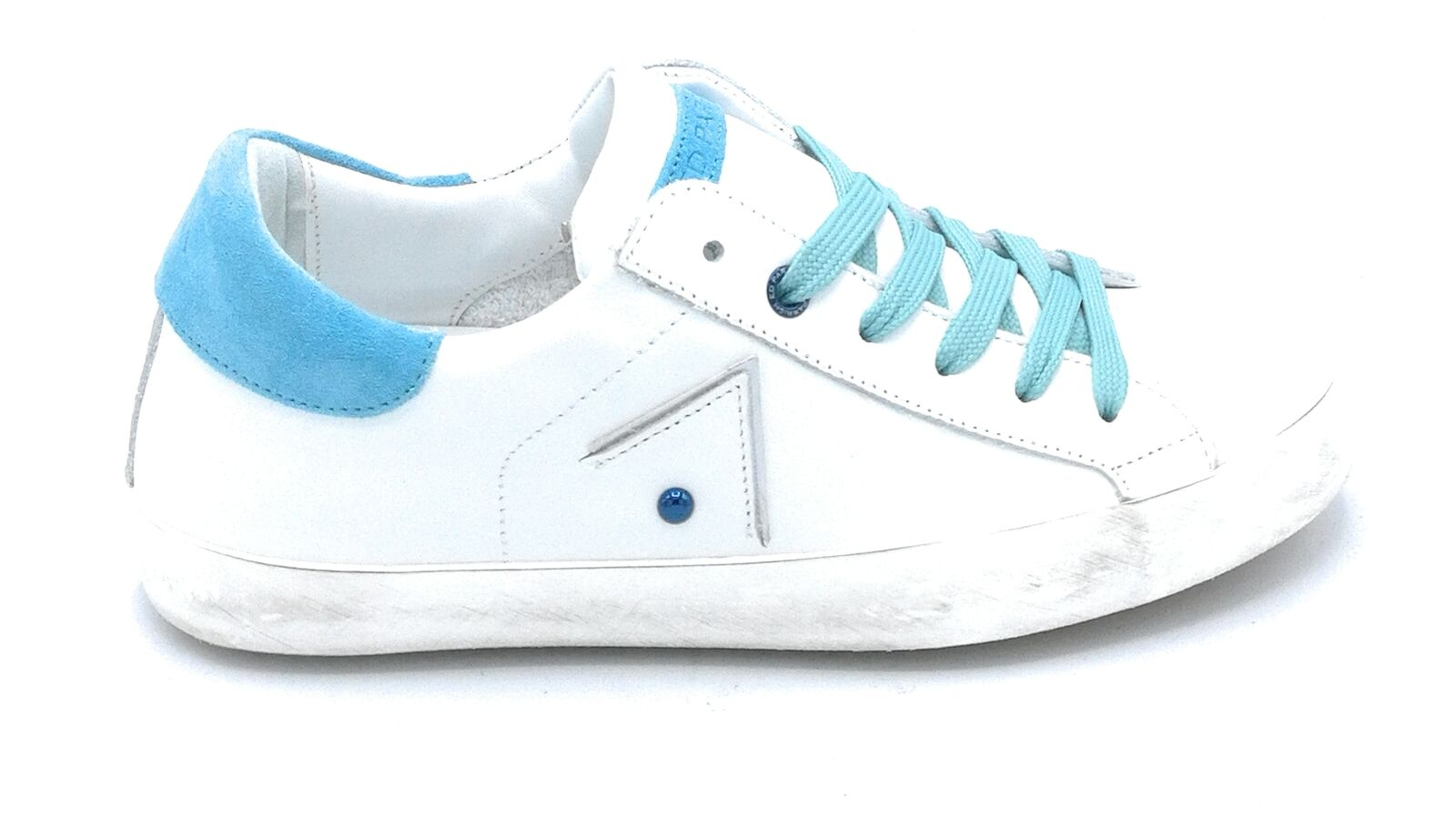 Ed Parrish Pnld Fa01 Sportschuhe Schnürsenkel Quaste Weiß Gämse Blau Accessoire