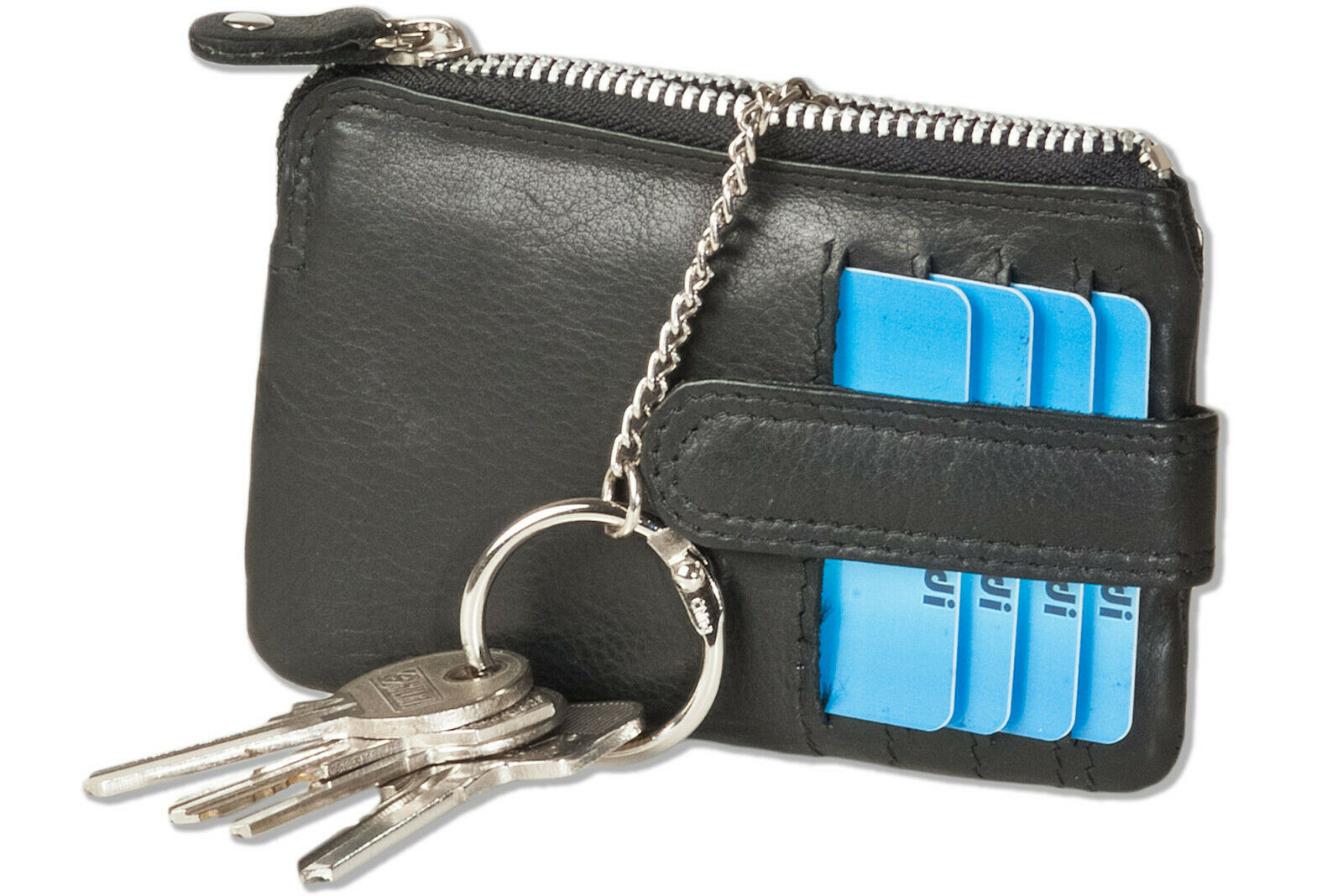 Rimbald ® Leather Key Wallet with 3 Credit Card Compartments and money compartment in Black