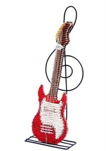 Electric Guitar Sculpture Treble Clef Stand Beaded Wire Hand ...