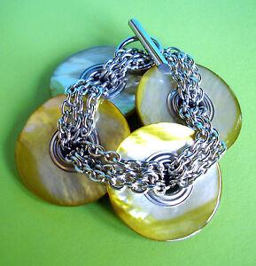 """2158 / """"premier Etage"""" Bracelet / Nacre Et Chaines En Chrome"""