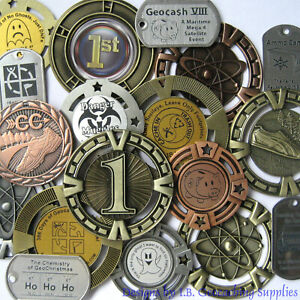 Three-3-Random-Geocaching-Trackables-Geomedals-amp-Dog-Tag-Unactivated