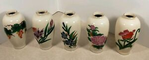 Vintage Homco Made In Japan Set Of 5 Bud Vases Porcelain Floral Flowers