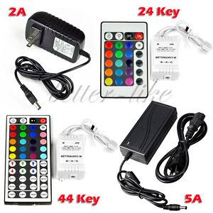 12V-2A-5A-Power-Supply-Transformer-LED-24-44-keys-IR-Remote-Controller-RGB-US