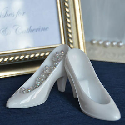 12 White Cinderella Glass Slippers Cake Topper Wedding Decoration Princess Party