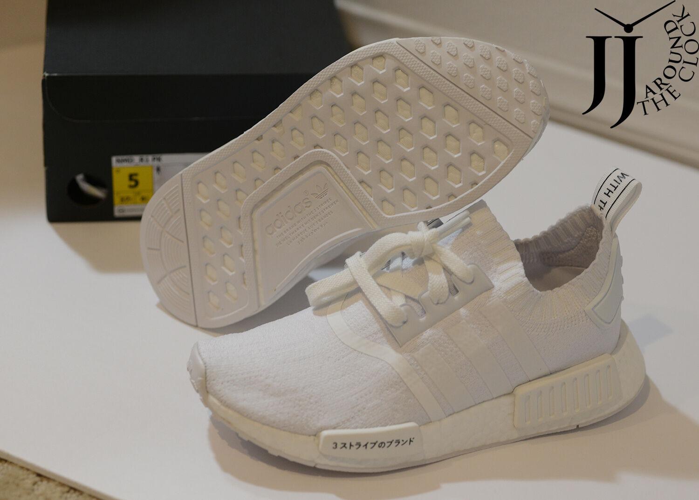 4889321ce96651 adidas NMD R1 PK Japan Triple White Nomad Primeknit Bz0221 Size 5 ...