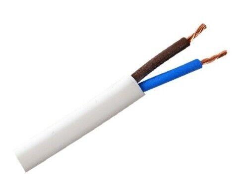 Flat Cable 2 Core 2192Y 3amp 0.5mm Flex 6amp 0.75mm PVC Wire 1m 100m Black White
