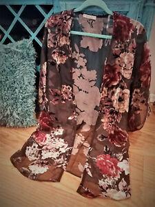 Women-039-s-Sheer-Black-Velvet-Floral-Kimono-Jacket-Duster-Cardigan-Tunic-Top-LARGE