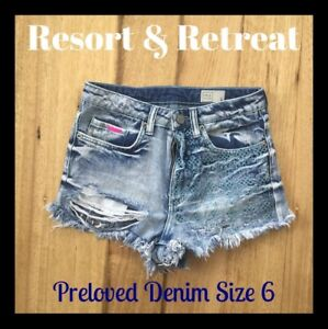 Distressed-Denim-Shorts-Size-6-Preloved-Dark-Blue-Great-Cond-Lyla-amp-Co