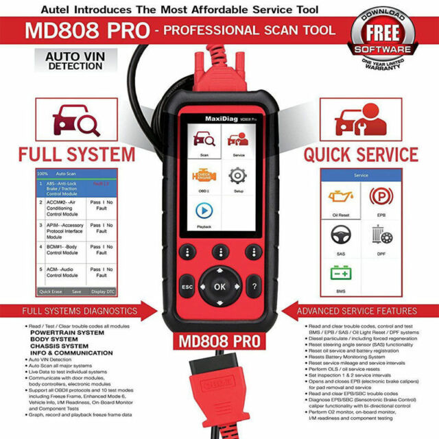 autel maxidiag md808 pro diagnostic tool full systems for. Black Bedroom Furniture Sets. Home Design Ideas